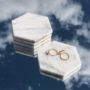 Set of 4, White marble coasters, Marble tray
